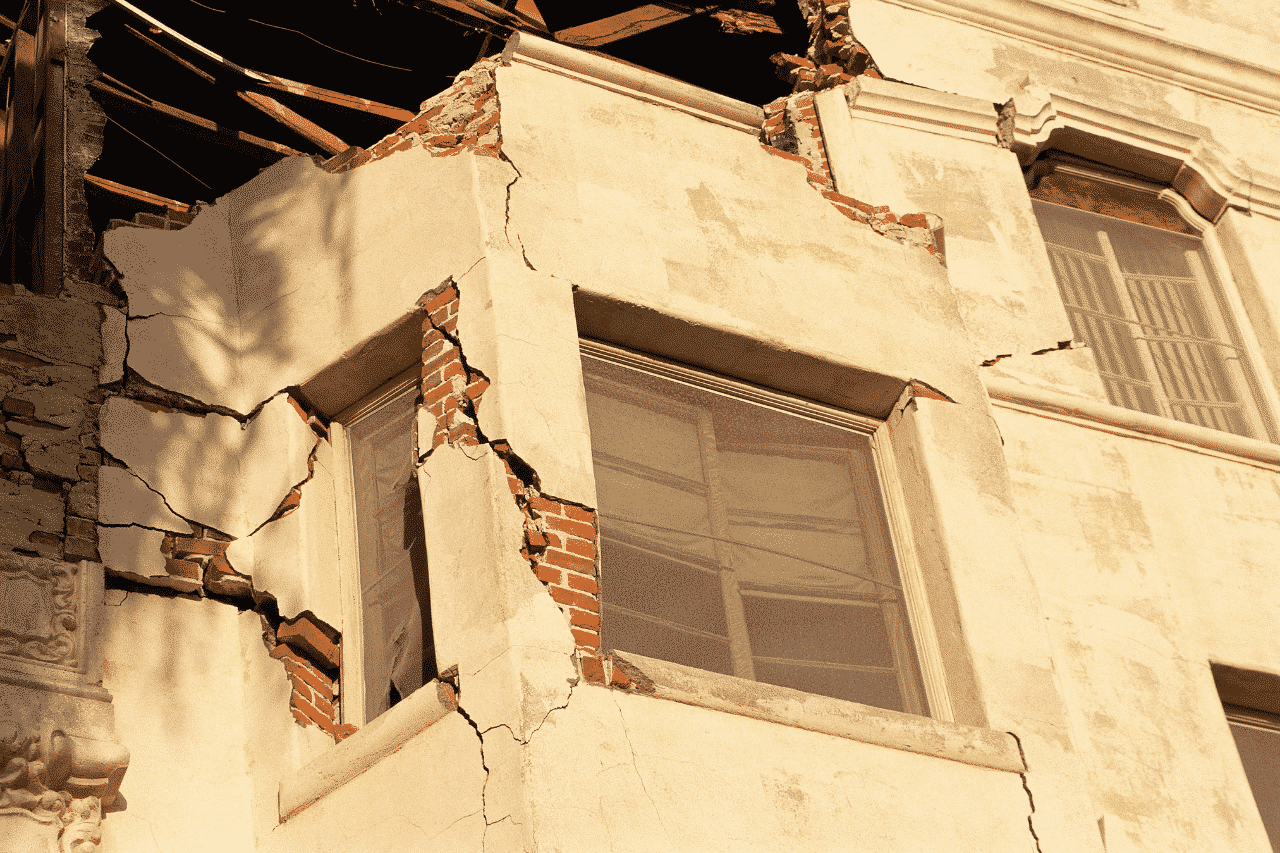 damaged building from earthquake