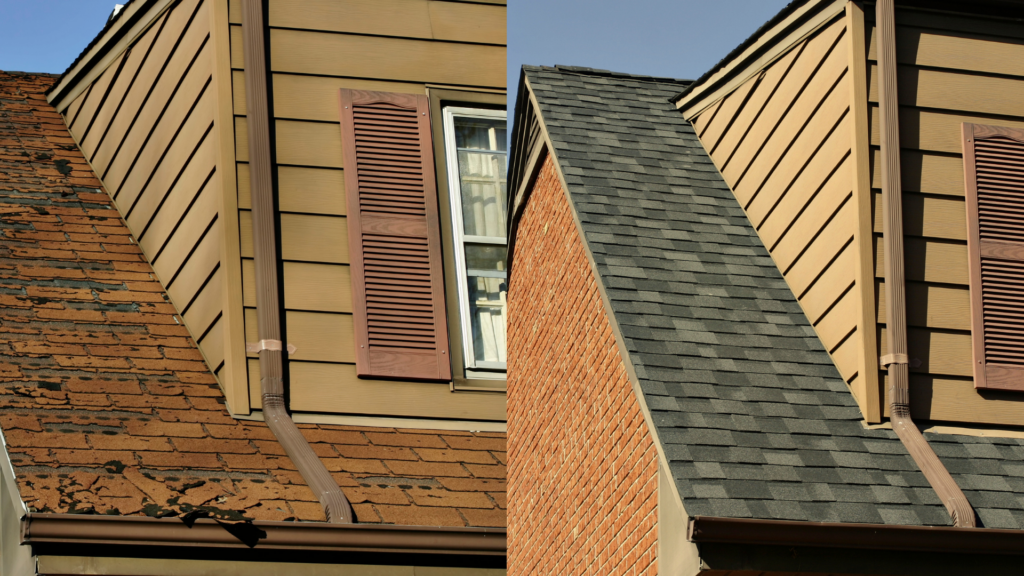 before and after roofing project