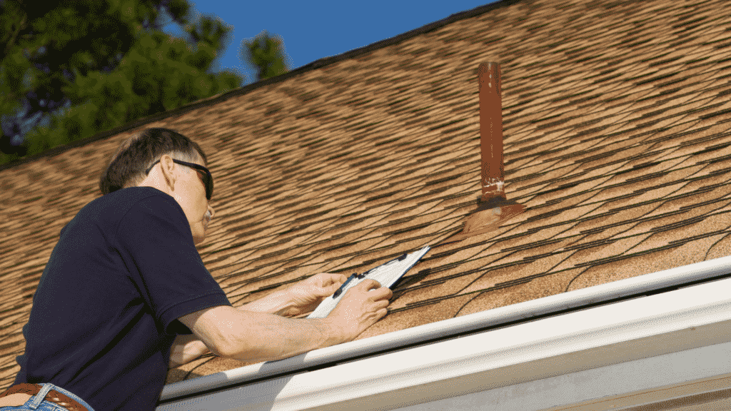 man reviewing roofing project